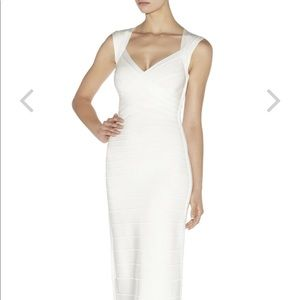 Herve Leger Estrella White Sweetheart Gown